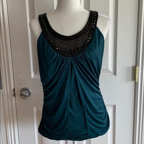 Studio Y Tops - EUC Jade and black sequin dress tank